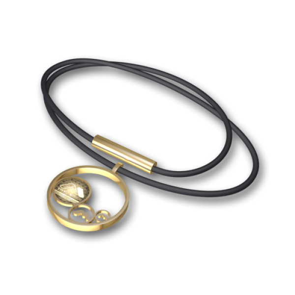 Steel pendant Gold-black