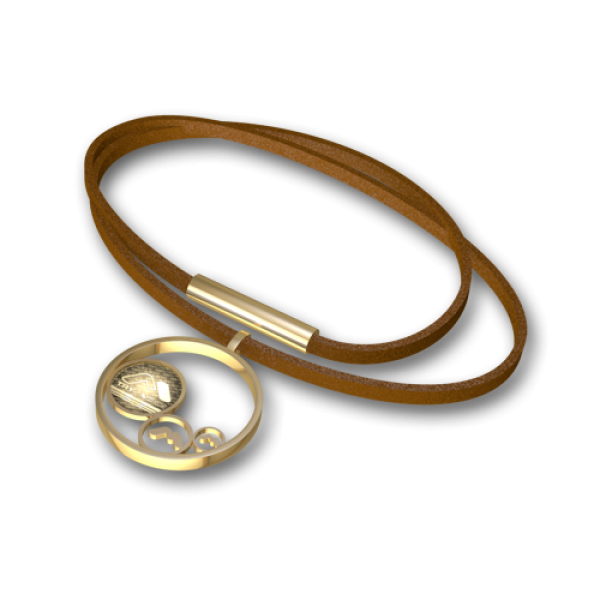 Steel pendant Gold-leather